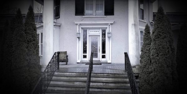 An image of the steps leading up to the entrance of the Octagon Mansion, Wytheville, Virginia